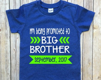 promoted to big brother, baby announcement shirt, big brother shirt, sibling shirts, big brother to be shirt, pregnancy announcement shirt,