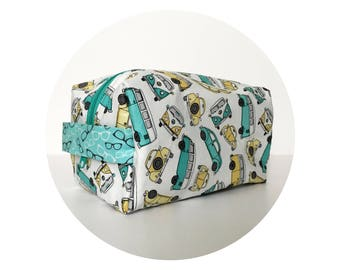 Makeup Bag. Large Waterproof Cosmetic Bag. Cute VW Beetle Print Bag. Toiletry Bag. Zippered Bag.
