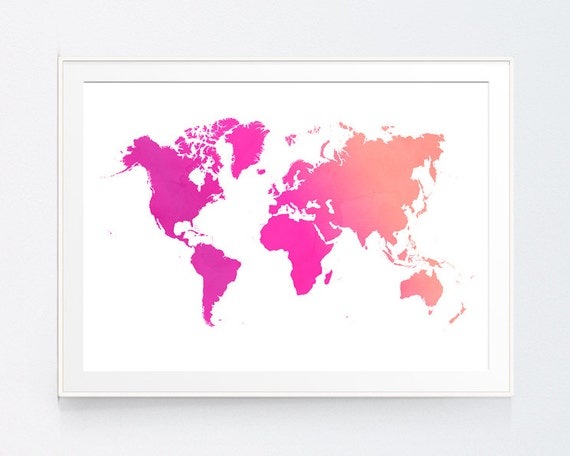 Peach magenta world map pink peach world map print coral gumiabroncs Images