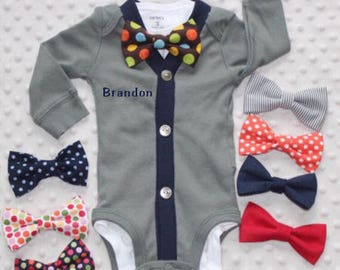 Personalized Baby Boy Cardigan and Bow Tie Set, Baby Suit, Baby Bow Tie Outfit, Baby Boy Clothes, Preppy Baby Boy Outfit
