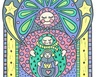 Babushka relief print, matryoshka print, nursery and children's art, hand-colored with watercolors, limited edition, original art