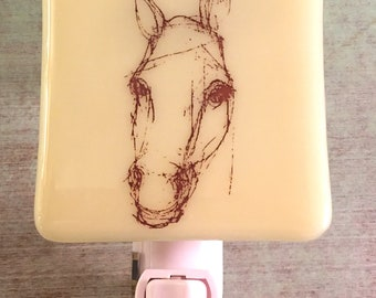 Horse Sketch Night Light Fused Glass