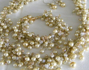 Champagne Bridal Jewelry Set  - with golden thread