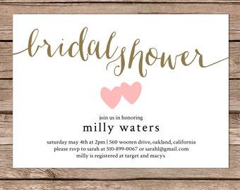 Bridal Shower Invitation / Bridal shower invite / Simple and Modern / Custom colors / Printable digital file or Printed cards