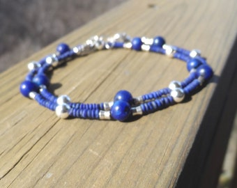 Awesome Women's Lapis Lazuli Gemstone and Sterling Silver Double Wrap Bracelet