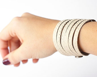 Leather Bracelet / Original Sliced Cuff / Woven Cream