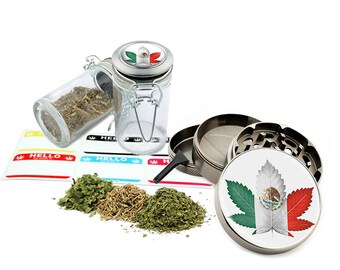 "Mexico Leaf Design - 2.5"" Zinc Alloy Grinder & 75ml Locking Top Glass Jar Combo Gift Set Item # G50-82515-7"