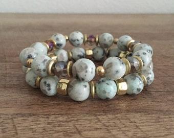 Lotus Jasper Beaded Bracelet Set, Semi-Precious Stone Bracelet, Stacking Bracelet Set, Gift for Her, Stone Stretch Bracelet, Boho Bracelet
