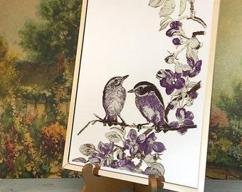 Beautiful Vintage Brass-framed Bird Mirror