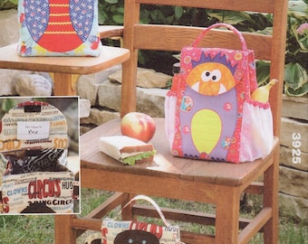 Kwik Sew 3925 Free Us Ship Craft Sewing Pattern Owl Monkey Monster Fabric Reusable Lunch Bags Fat Quarter Quilt  Out of Print New 2013