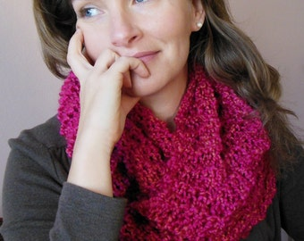 Bright Pink Infinity Scarf Hand Knit Fashion Loop Circle Scarf in Dark Pink Tulip