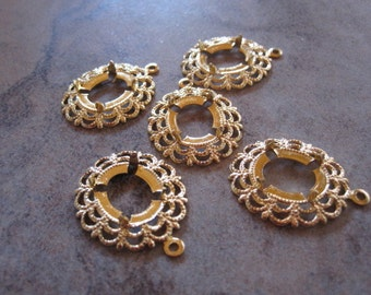 5 Drops, antiqued gold-plated brass, 23x18mm oval with 12x9mm 4-prong oval cabochon setting. - JD182