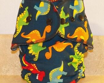 Fitted Medium Cloth Diaper- 10 to 20- Dinos on Dark Blue- 18006