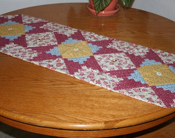 table runner -  Brighten your Table - Pink and White floral-log cabin table topper - custom made one only