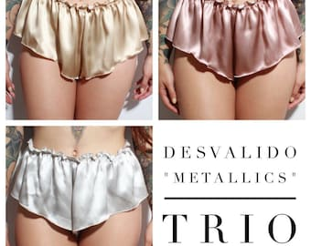 Metallics Trio Gift Set - includes THREE x Desvalido Signature Silk French Knickers - save 15% - Available in AUS size 6 to 22