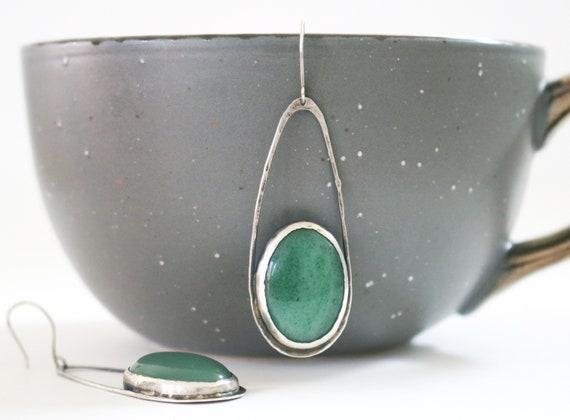 Silver and Aventurine Raindrop Earrings