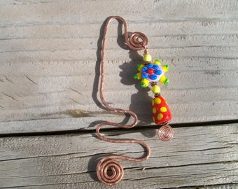 Handmade Glass Lampwork Bead Bookmark with Copper Wire