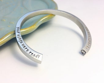 Double Chamber Urn - your wings were ready my heart was not ~ Hand Stamped Cuff ~ Remembrance Jewelry ~ Memorial Bracelet ~  Bereavement