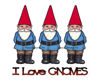 Gnome Clipart, Hand Drawn Clipart, Commercial Use, OOAK Clipart, I Love Gnomes, Three Gnome Men, Temporary Tattoo, Whimsical Fantasy Clipart