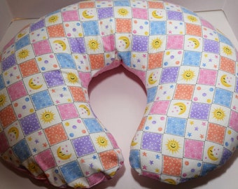 Reversible Boppy Nursing Pillow Cover: Sun, Moon, & Stars Squares with Pink Stars flannel OR White Circles on Yellow