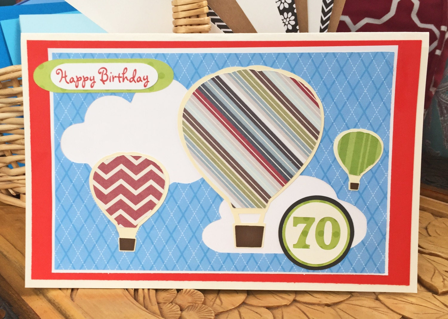 Personalized hot air balloon birthday card custom handmade personalized hot air balloon birthday card custom handmade men women for him hot air balloon greeting card balloons clouds bookmarktalkfo Image collections
