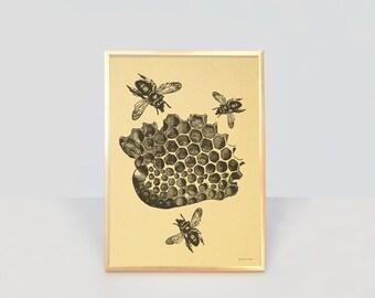 Bee print-bee gold print-bees wall art-home decor-wedding gift-nature print-insect print-honey bee print-gold print-by NATURA PICTA-NPGP012