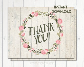 Printable Thank You Card, A2 5.5 X 4.25 In, Baby Shower Thank You, Bridal Shower Thank You, Shabby Chic Thank You, Pink, Printable No. 1029