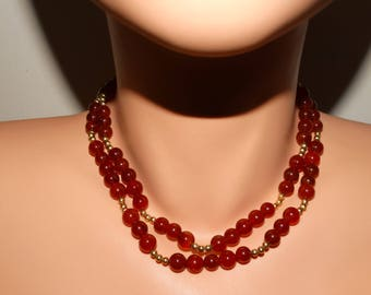"""Vintage Gold Plated 8mm Carnelian beaded Necklace 32"""" Inch Long."""