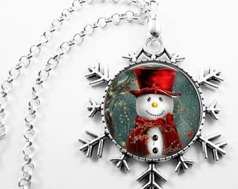 Christmas Necklace Christmas Jewelry Glass Tile Necklace Glass Tile Jewelry Snowman Necklace  Holiday Necklace Holiday Jewelry