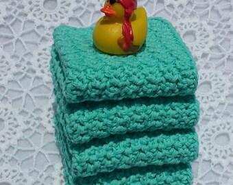 Crochet Dishcloths Set of 4 Aqua Teal Blue Turquoise Dish Rags Wash Cloths Face Cloths