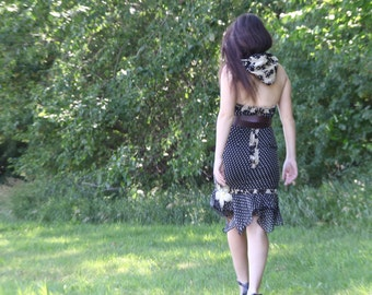 upcycled dress - XS - upcycled clothing, slow fashion, hooded halter neck dress . take the long way home