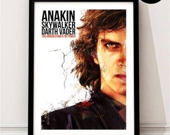 Anakin Skywalker Art Print, Star Wars Inspired, Quote, Sci-fi Art, Dark Side, New, Original, Jedi, Sith,  The Force Awakens, Darth Vader