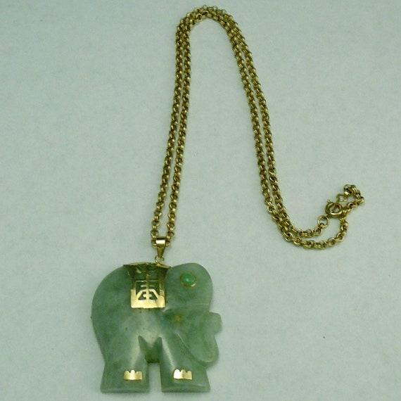 14k jade elephant pendant necklace large chinese jadeite aloadofball Gallery