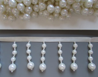Pearl Beaded Fringe 5.5cm drop top quality x 1 metre