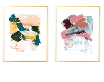 Set of 2 Abstract Prints,Wall Art set of 2, Abstract Wall Art,Brush Stroke Art, Printable Abstract Art,Wall Art Prints,Wall Art Watercolor