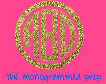 Glitter Monogram Decal Sticker , Monogram Decal, Monogram Sticker, Gold Glitter Monogram, Silver Glitter Monogram Car Decal, Circle Monogram