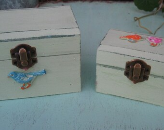 "Light Green ""Shabby Chic"" Wooden Jewelry Box + Small One As A Gift"