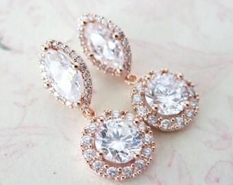 Alcina - Luxe Rose Gold Cubic Zirconia Halo style Navette Teardrop dangle Earrings, Bridal Cubic Zirconia earrings, Classic Hollywood