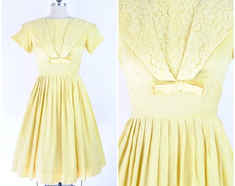 """Early 1960's yellow day dress  sz S (B 34"""" W 26"""")  / Vintage 60's fit and flare dress / cotton lace and bow"""
