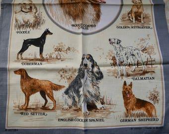 Tea Towel Dog Breeds, Vintage Teatowel, Yorkshire terrier, Boxer Dog, Poodle Labrador, Gift For Dog Lover, Home Gift, Retro Kitchenalia