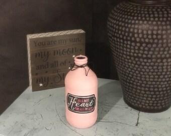 All My Heart, Bud Vase, Anniversary, Bottle Vase, Mini Bud Vase, Pink Vase, Flower Vase, Glass Vase, Upcycled Bottle, Altered Bottles