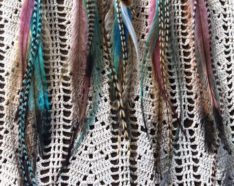 Feather Hair Extensions,Mermaid Hair Feathers in soft pastels,Hair Falls, Feather Extension Hair Clip, Feather Hair Clips, Hair Accessories