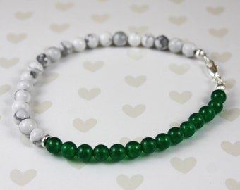 Emerald, Howlite May Birthstone and Sterling Silver Anklet