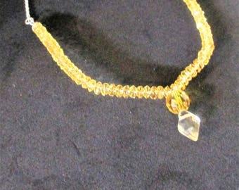 yellow quartz, bib necklace, yellow necklace, choker with chain,.lemon quartz, quartz necklace, gemstone necklace,