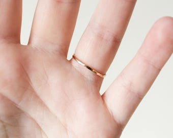 Solid 14k Yellow Gold Band, 14k Gold Ring, Thin Gold Band, Minimalist Ring, Gold Ring, Wedding Band, Gold Stacking Ring, Gold Wedding Band