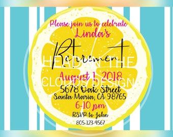 Lemon & Blue - Retirement Invitation
