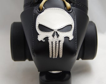 Leather Skate Toe Guards with White Punisher Skull