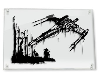 X-Wing Star Wars Art Yoda Luke Skywalker Jedi R2-D2 Empire Strikes Back Dagobah paper cut gift for him star wars art Will Pigg FRAMED