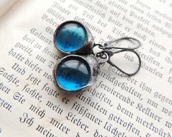 raw, turquoise glass earrings,  MARIAELA, hippi, boho, romantic, nostalgic, ideal gift, turquoise earrings, danging earrings, glass earrings