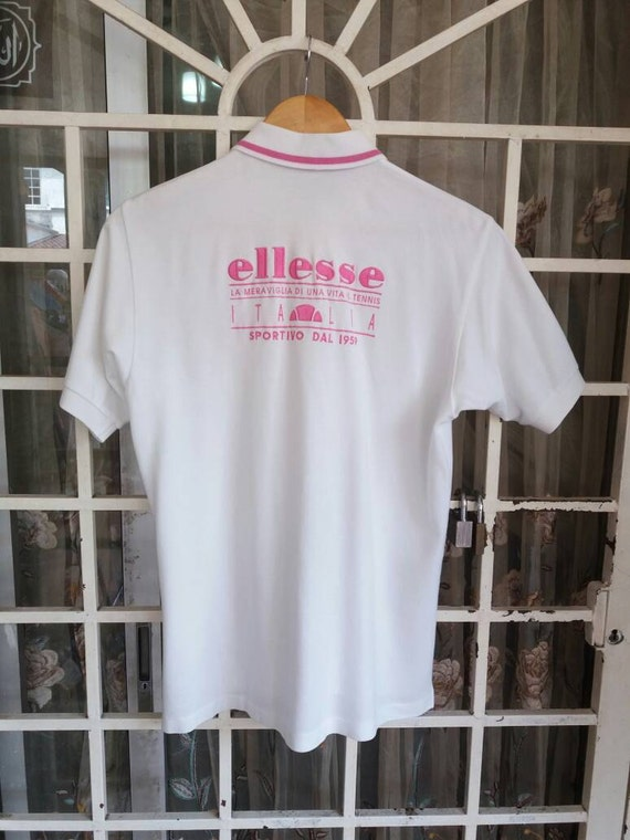 Vintage Ellesse polo tee spellout embroidery /pink n white/small/made in japan/sportwear q2sAv